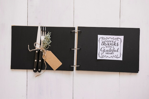 Cutlery and card in folder