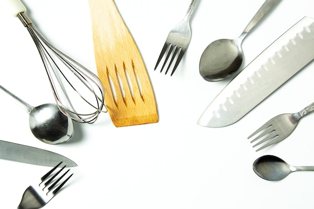 Cutlery, kitchen tools, in close-up top view