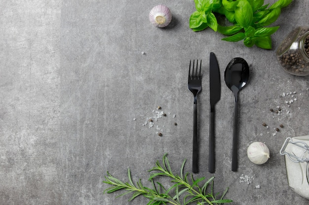 Cutlery set, stylish black cutlery with spice on dark background.