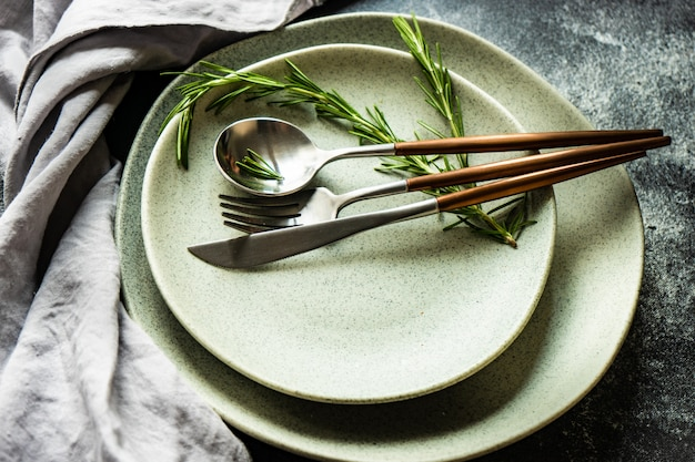Cutlery set with fresh rosemary