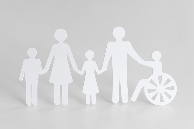 Cutout paper of different family members