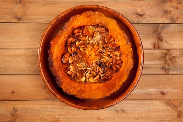 Cutted half pumpkin roasted pumpkin