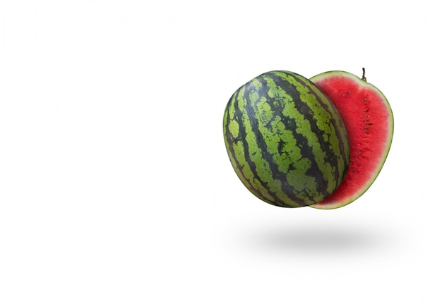 Cutted watermelon floating