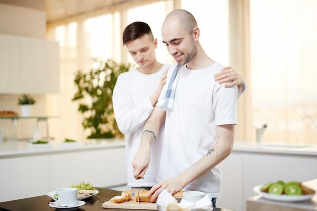 Cutting bread for breakfast