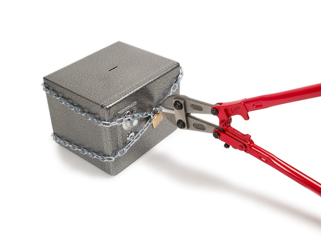 Cutting chain with bolt cutters.