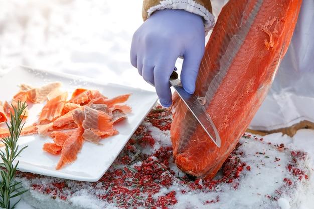 冷凍魚の切り身の切り身