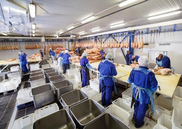 食肉処理場で肉を切る。