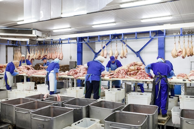 Cutting meat in slaughterhouse .