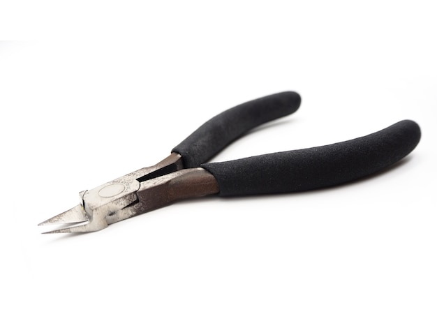 A cutting pliers for model kit isolated on white background.