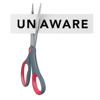 Резка, не осознавая, чтобы осознавать бумажный знак с ножницами на белом фоне. 3d-рендеринг.