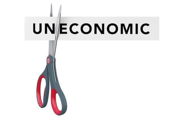 Сокращение неэкономичного к экономическому бумажному знаку с ножницами на белом фоне. 3d-рендеринг.