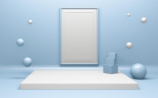 製品プレゼンテーション用の幾何学的な表彰台に関するシアンの要約。 3dレンダリング