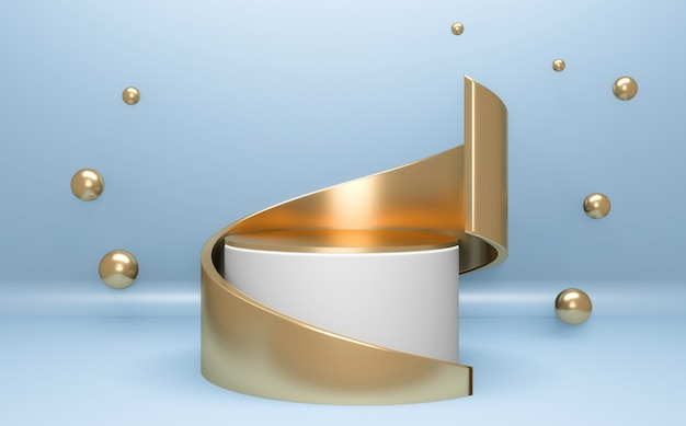 Cyan abstract on podium geometric for product presentation. 3d rendering