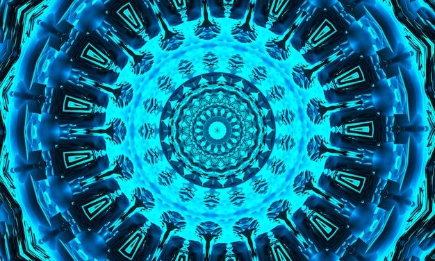 Голубой индиго и черный фон гипнотического калейдоскопа