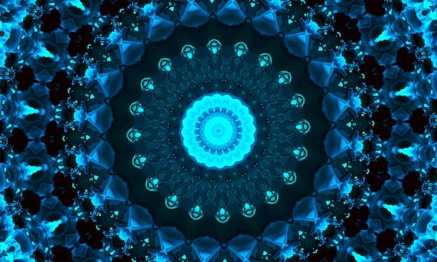 Cyan indigo and black hypnotic kaleidoscope background