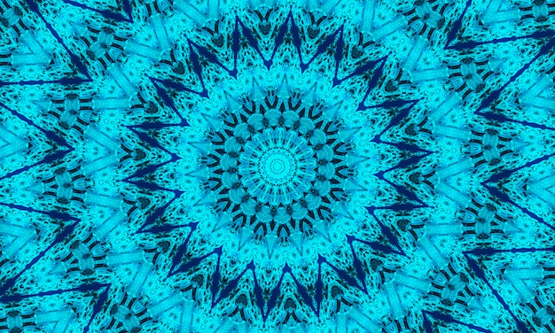 Cyan kaleidoscope background, gift wrapping and wallpaper concept