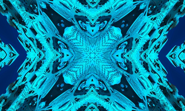 Cyan kaleidoscope background, gift wrapping and wallpaper concept.