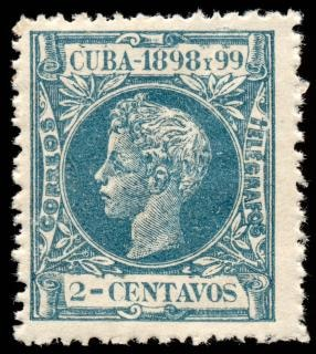 Cyan king alfonso xiii stamp