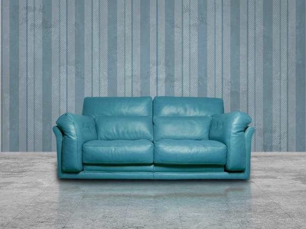 Cyan leather sofa