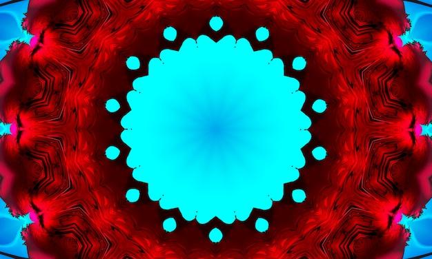 血まみれの赤い背景のシアンマンダラ同心の花。カレイドスコープセンター。万華鏡のようなデザインパターン。