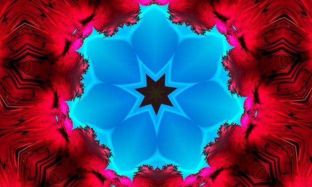 血まみれの赤い背景にシアンマンダラ同心の花。カレイドスコープセンター。万華鏡のようなデザインパターン。