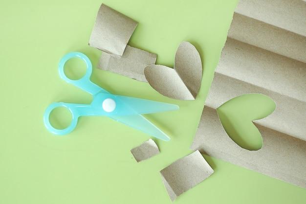 Cyan plastic children safety scissors