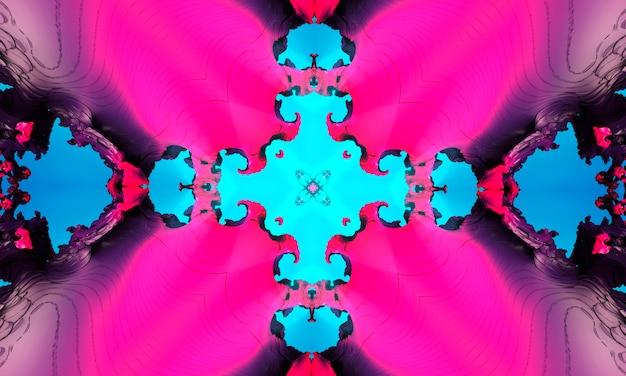 クロスとシアンのシームレスなパターン。紫の万華鏡。