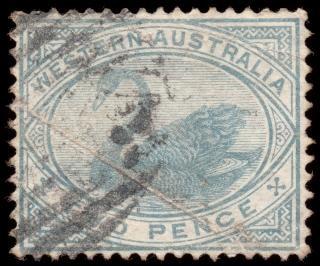 Cyan swan stamp