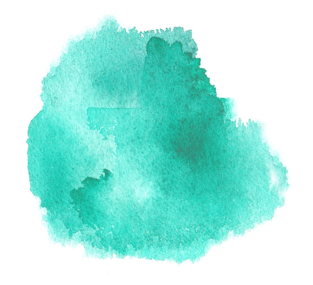 Cyan watercolor texture stain with aquarelle splash and brush strokes