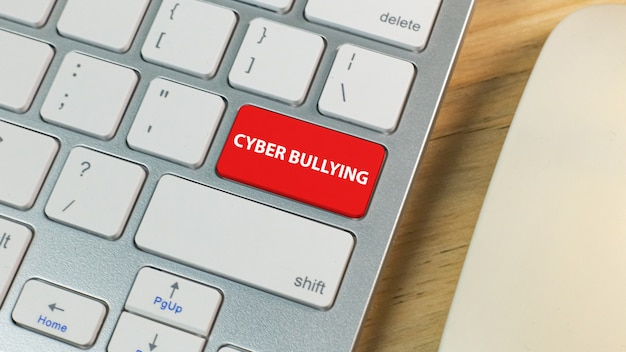 Cyber издевательства красная кнопка на серебряной клавиатуре.