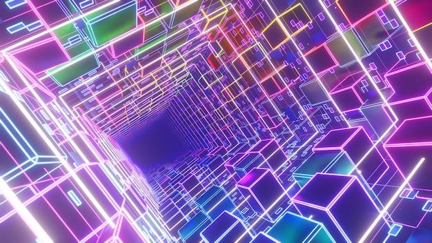 90년대 복고풍 및 공상 과학 사이버 펑크 장면의 벽지를 위한 큐브 상자 배경의 사이버 전기 공간