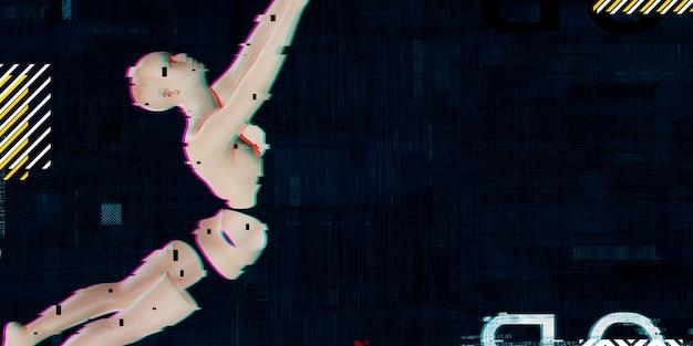 ネオンカラーの背景にサイバーガールロボットaiスタイルトレンディなマイクロ波シンセウェイブネオンマトリックスの背景