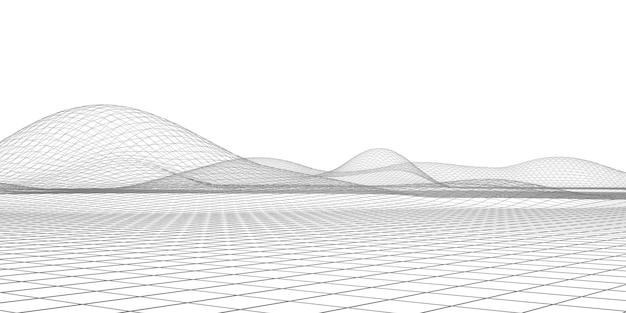 サイバーランドスケープデジタル接続構造ライン将来のパレードスケジュール幾何学的メッシュ人工知能粒子モデル