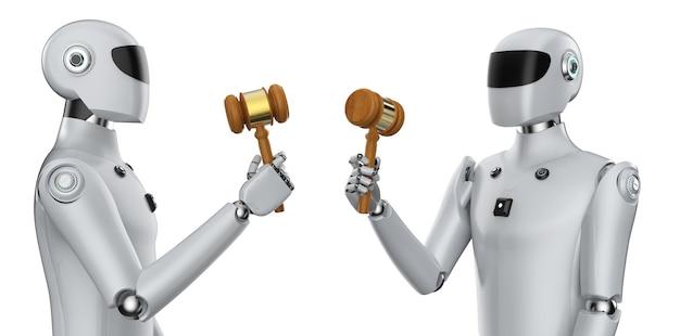 白い背景の上の3dレンダリングサイボーグ手保持ガベル裁判官とサイバー法の概念