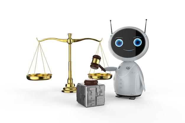 白い背景にガベル裁判官を保持している3dレンダリングフレンドリーなロボットとサイバー法の概念