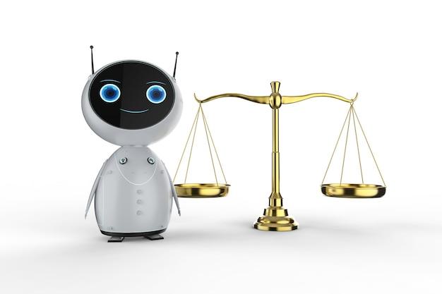 白い背景の上の法律のスケールで3dレンダリングフレンドリーなロボットとサイバー法の概念