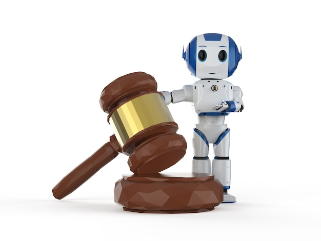 3dレンダリングミニロボットの手持ちガベル裁判官とサイバー法の概念