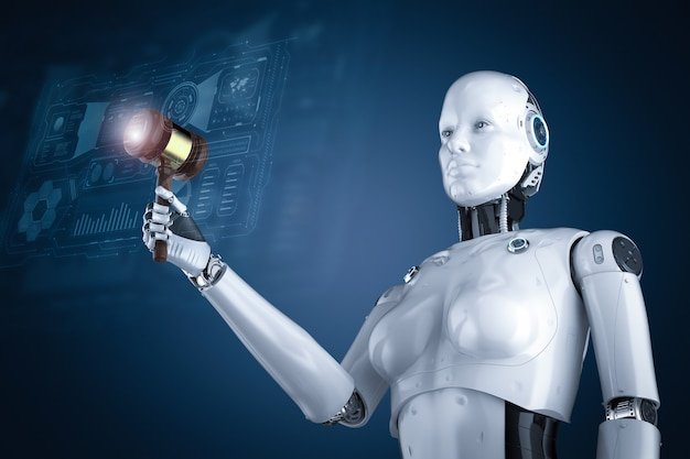 3dレンダリングロボットの手持ちガベル裁判官とサイバー法の概念