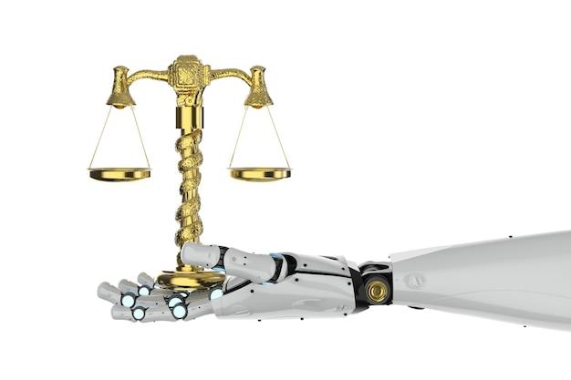 白い背景に金色のスケールを保持している3dレンダリングロボットの手とサイバー法の概念