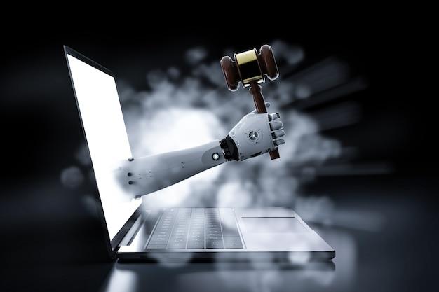 ノートブックからガベル裁判官を持っているロボットの手とサイバー法の概念