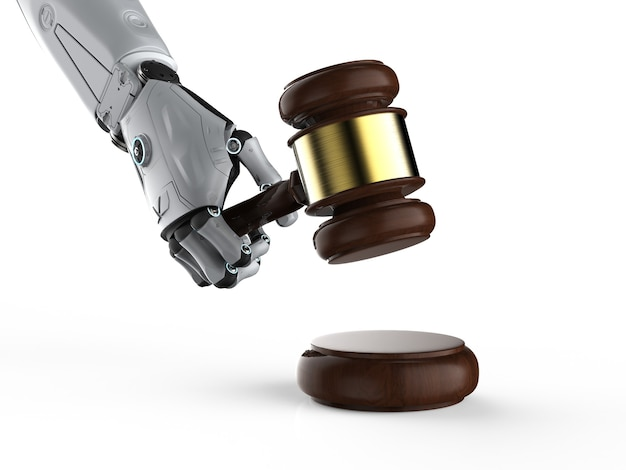 サイバー法またはインターネット法の概念とaiロボットとガベル裁判官