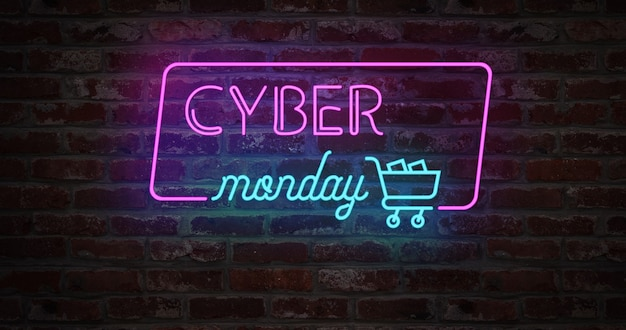 Cyber monday animation neon light sign and stylized shopping cart on brick wall. sale banner neon sign style for promo . concept of sale and clearance. concept.