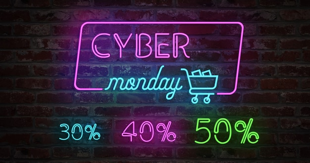 Cyber monday animation neon light sign and stylized shopping cart on a brick wall. sale banner neon sign style for promo. concept of sale and clearance with 30% 40% and 50%