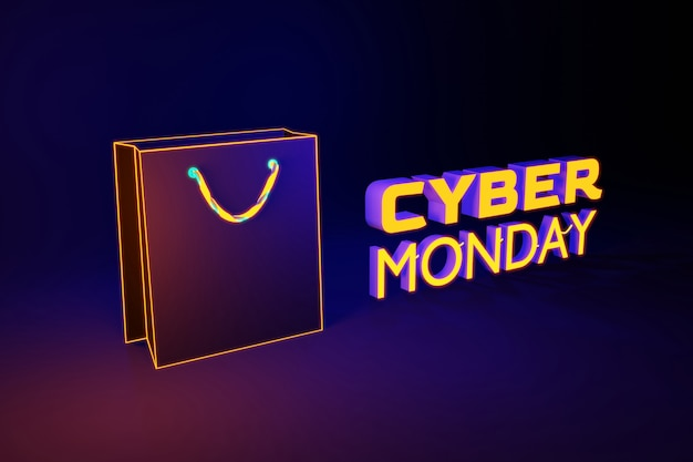 Яркая неоновая сумка для покупок cyber monday