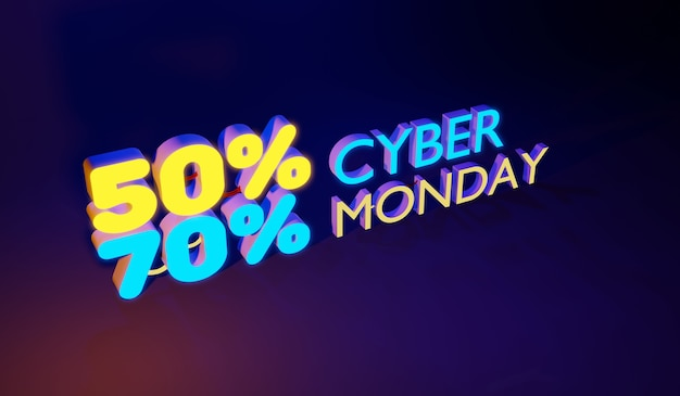 Cyber monday colorful neon style concept sign sales background, 3d render