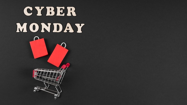 Cyber monday event elements in miniature with copy space