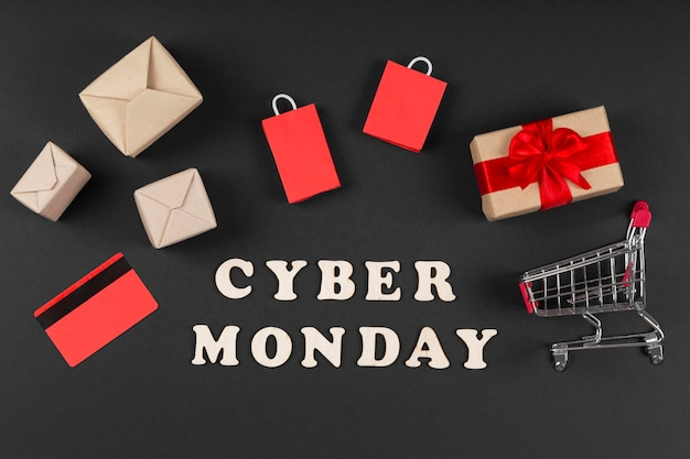 Cyber monday event elements in miniature
