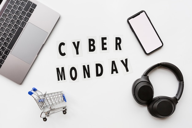 Cyber monday flat lay