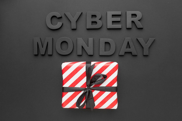 Cyber monday and gift box top view