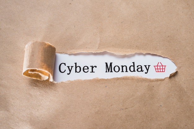 Cyber monday inscription and craft sheet